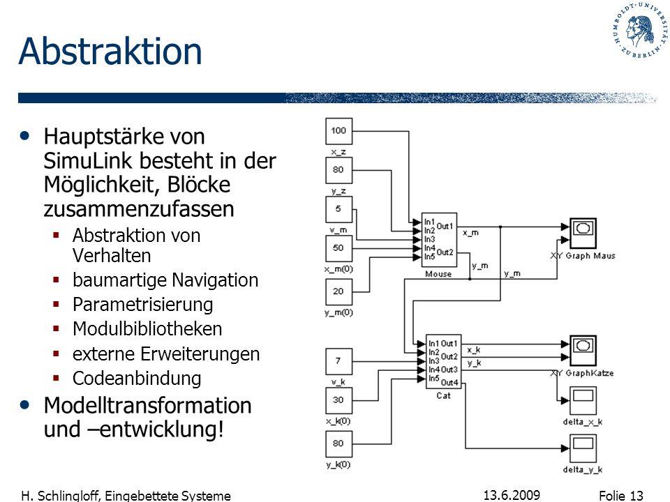 Folie 13 H. Schlingloff, Eingebettete Systeme 13.6.2009 Abstraktion Hauptstärke von SimuLink besteht in der Möglichkeit, Blöcke zusammenzufassen Abstr