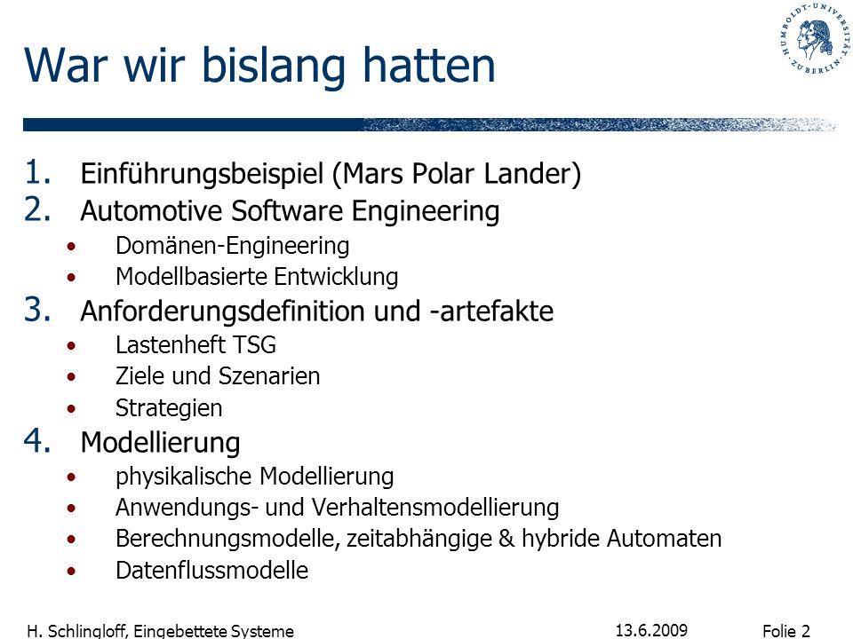 Folie 2 H. Schlingloff, Eingebettete Systeme 13.6.2009 War wir bislang hatten 1. Einführungsbeispiel (Mars Polar Lander) 2. Automotive Software Engine