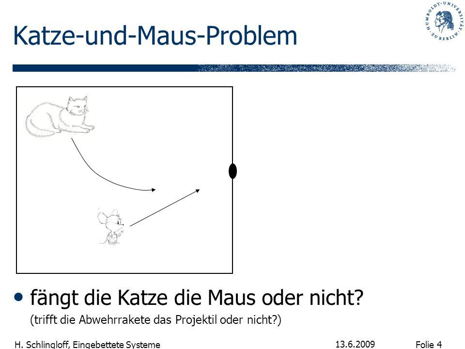 Folie 4 H. Schlingloff, Eingebettete Systeme 13.6.2009 Katze-und-Maus-Problem fängt die Katze die Maus oder nicht? (trifft die Abwehrrakete das Projek