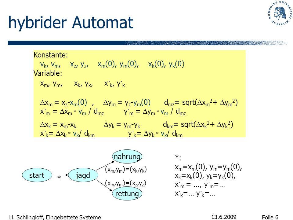 Folie 6 H. Schlingloff, Eingebettete Systeme 13.6.2009 hybrider Automat Konstante: v k, v m, x z, y z, x m (0), y m (0), x k (0), y k (0) Variable: x