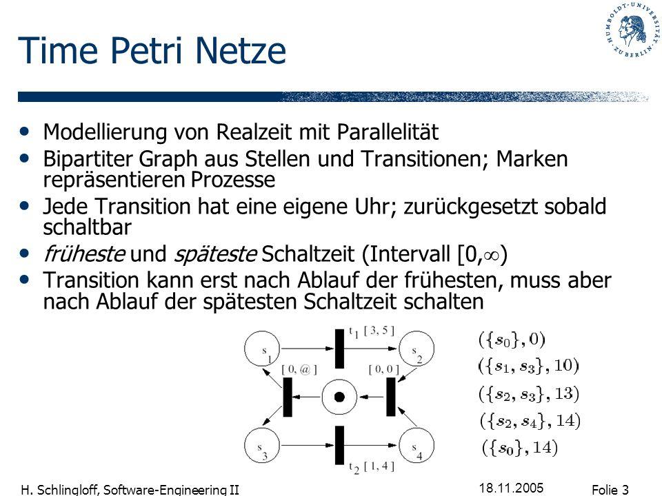 Folie 3 H. Schlingloff, Software-Engineering II 18.11.2005 Time Petri Netze Modellierung von Realzeit mit Parallelität Bipartiter Graph aus Stellen un