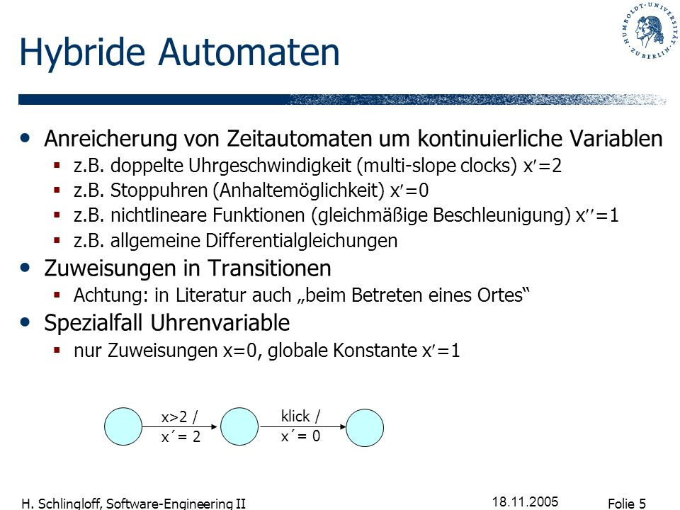 Folie 5 H. Schlingloff, Software-Engineering II 18.11.2005 Hybride Automaten Anreicherung von Zeitautomaten um kontinuierliche Variablen z.B. doppelte