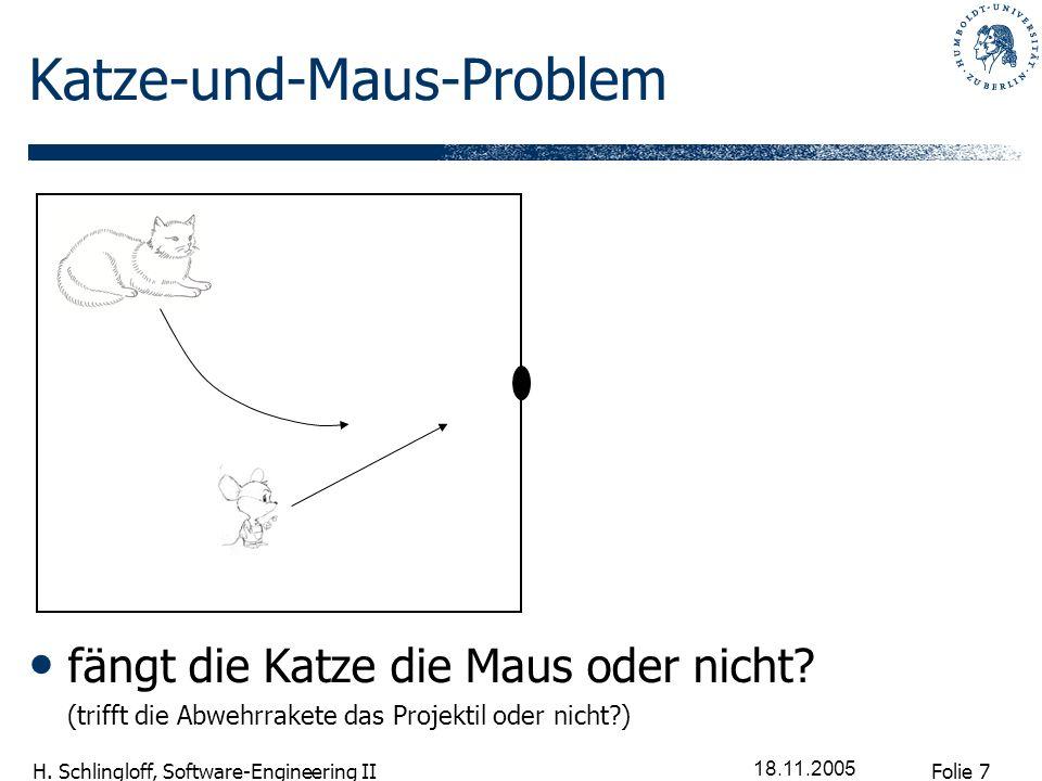 Folie 7 H. Schlingloff, Software-Engineering II 18.11.2005 Katze-und-Maus-Problem fängt die Katze die Maus oder nicht? (trifft die Abwehrrakete das Pr