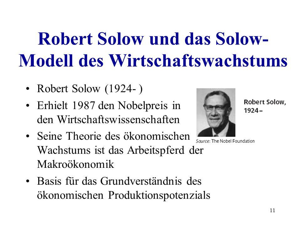 11 Robert Solow und das Solow- Modell des Wirtschaftswachstums Robert Solow (1924- ) Erhielt 1987 den Nobelpreis in den Wirtschaftswissenschaften Sein