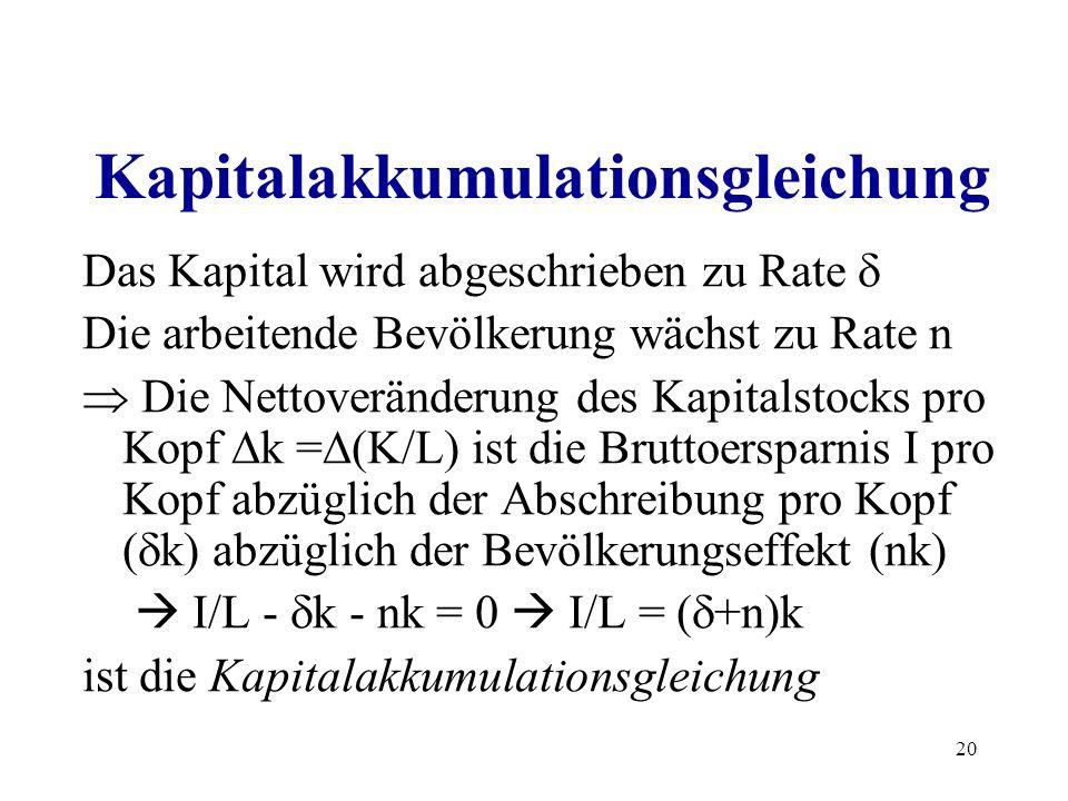 20 Kapitalakkumulationsgleichung Das Kapital wird abgeschrieben zu Rate Die arbeitende Bevölkerung wächst zu Rate n Die Nettoveränderung des Kapitalst