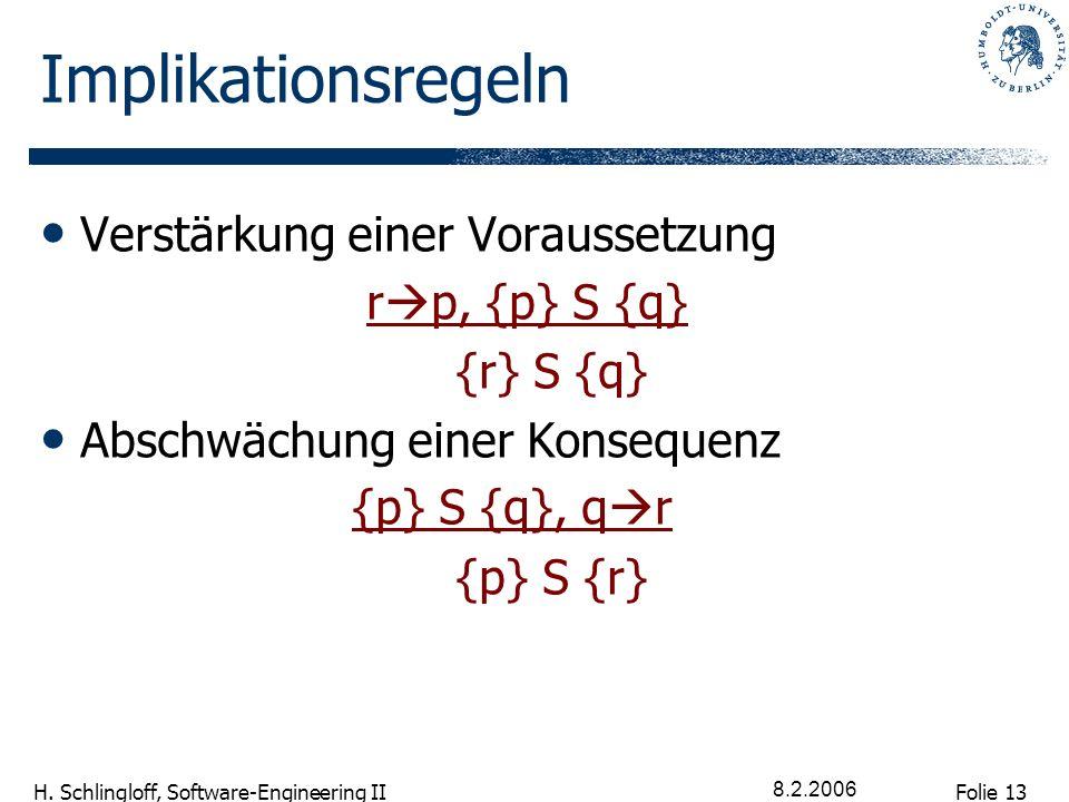 Folie 13 H. Schlingloff, Software-Engineering II 8.2.2006 Implikationsregeln Verstärkung einer Voraussetzung r p, {p} S {q} {r} S {q} Abschwächung ein