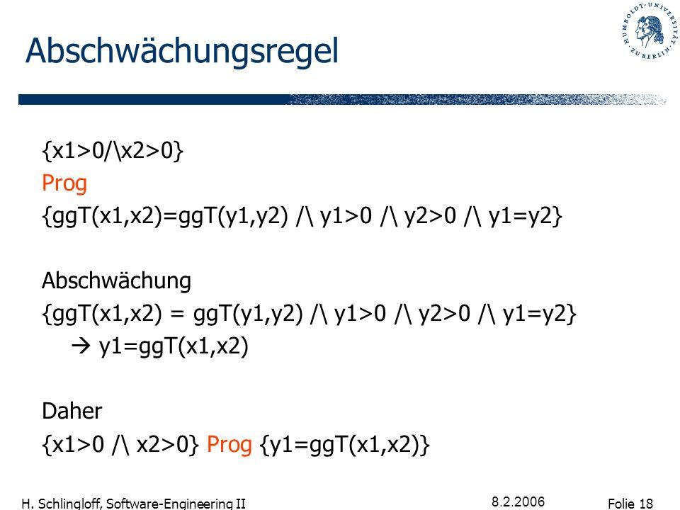 Folie 18 H. Schlingloff, Software-Engineering II 8.2.2006 Abschwächungsregel {x1>0/\x2>0} Prog {ggT(x1,x2)=ggT(y1,y2) /\ y1>0 /\ y2>0 /\ y1=y2} Abschw