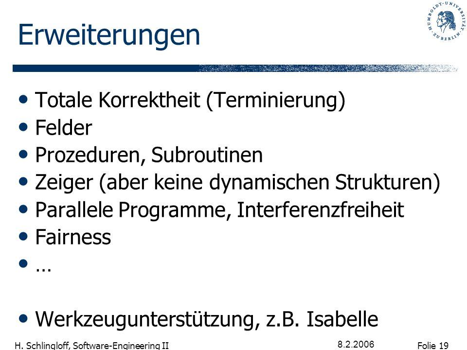 Folie 19 H. Schlingloff, Software-Engineering II 8.2.2006 Erweiterungen Totale Korrektheit (Terminierung) Felder Prozeduren, Subroutinen Zeiger (aber