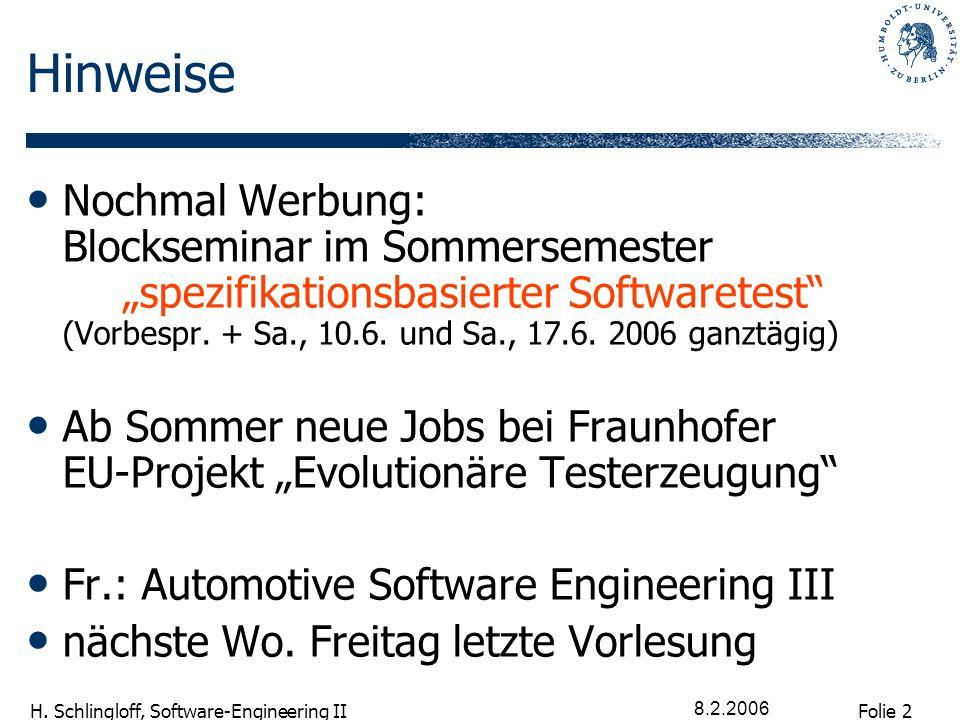 Folie 2 H. Schlingloff, Software-Engineering II 8.2.2006 Hinweise Nochmal Werbung: Blockseminar im Sommersemester spezifikationsbasierter Softwaretest