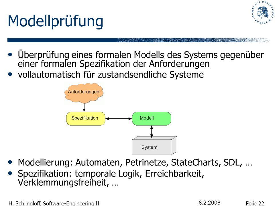 Folie 22 H. Schlingloff, Software-Engineering II 8.2.2006 Modellprüfung Überprüfung eines formalen Modells des Systems gegenüber einer formalen Spezif
