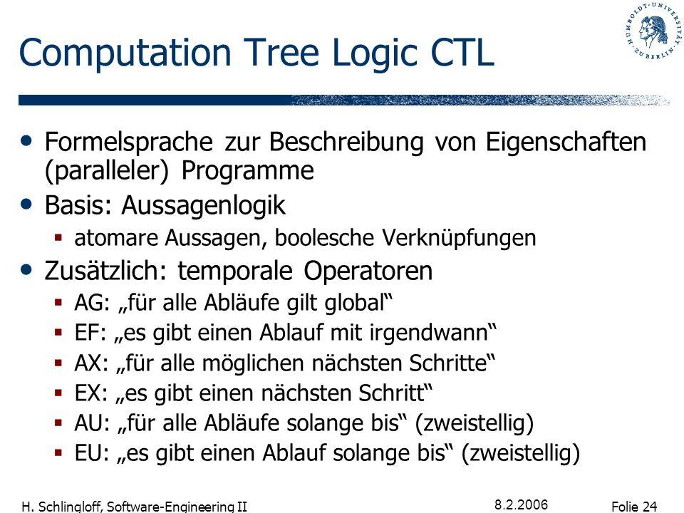 Folie 24 H. Schlingloff, Software-Engineering II 8.2.2006 Computation Tree Logic CTL Formelsprache zur Beschreibung von Eigenschaften (paralleler) Pro