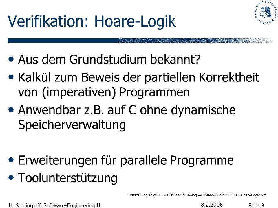Folie 3 H. Schlingloff, Software-Engineering II 8.2.2006 Verifikation: Hoare-Logik Aus dem Grundstudium bekannt? Kalkül zum Beweis der partiellen Korr