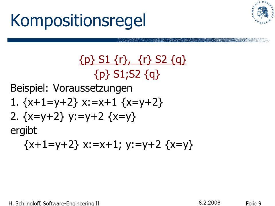 Folie 9 H. Schlingloff, Software-Engineering II 8.2.2006 Kompositionsregel {p} S1 {r}, {r} S2 {q} {p} S1;S2 {q} Beispiel: Voraussetzungen 1. {x+1=y+2}