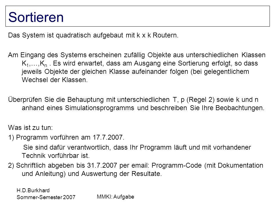 H.D.Burkhard Sommer-Semester 2007 MMKI: Aufgabe Das System ist quadratisch aufgebaut mit k x k Routern. Am Eingang des Systems erscheinen zufällig Obj