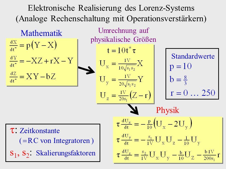 Elektronische Realisierung des Lorenz-Systems (Analoge Rechenschaltung mit Operationsverstärkern) Mathematik Umrechnung auf physikalische Größen Physi