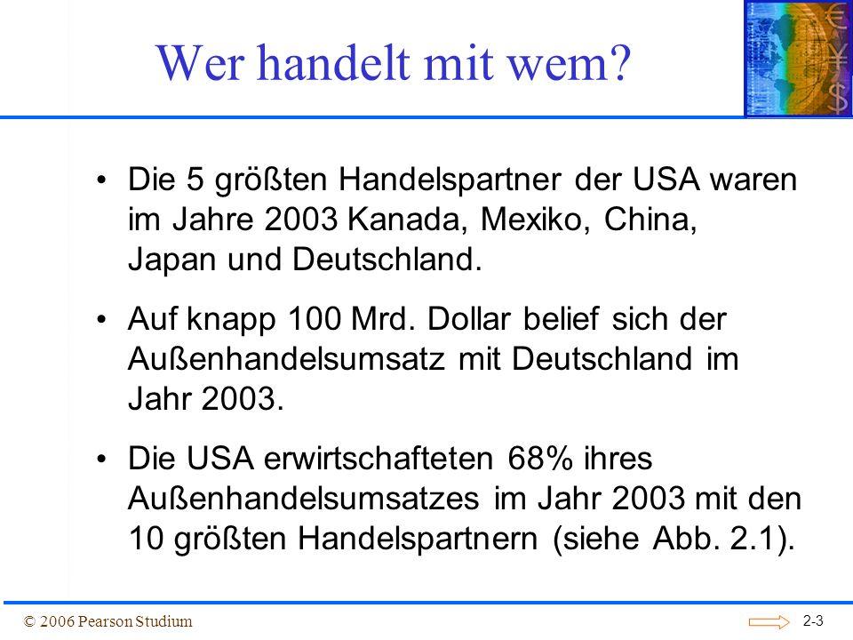 2-4 Abbildung 2.1: Gesamthandel der USA mit ihren wichtigsten Handelspartnern, 2003 © 2006 Pearson Studium Wer handelt mit wem?