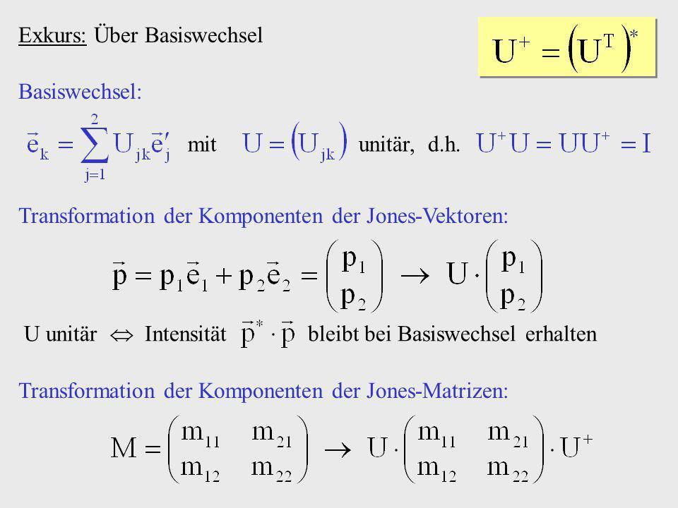 Exkurs: Über Basiswechsel mit unitär, d.h. Basiswechsel: Transformation der Komponenten der Jones-Matrizen: Transformation der Komponenten der Jones-V
