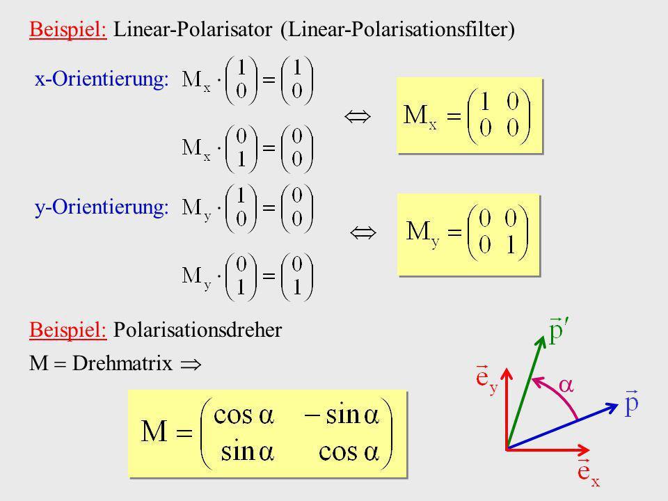 Beispiel: Linear-Polarisator (Linear-Polarisationsfilter) x-Orientierung: y-Orientierung: Beispiel: Polarisationsdreher M Drehmatrix
