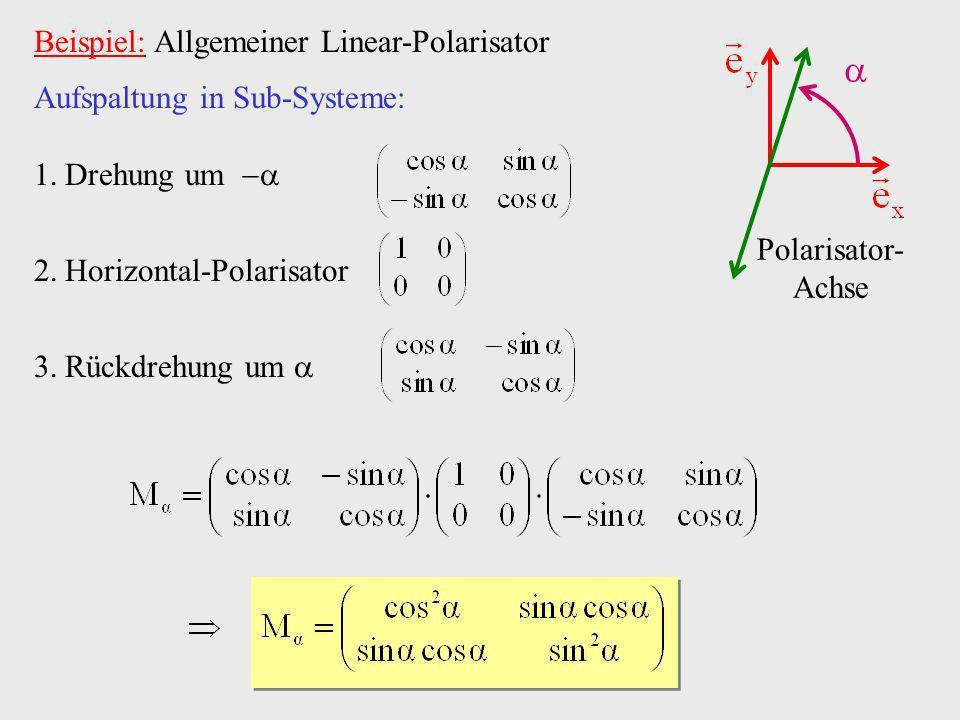 Beispiel: Allgemeiner Linear-Polarisator Polarisator- Achse Aufspaltung in Sub-Systeme: 1.Drehung um 2.Horizontal-Polarisator 3.Rückdrehung um
