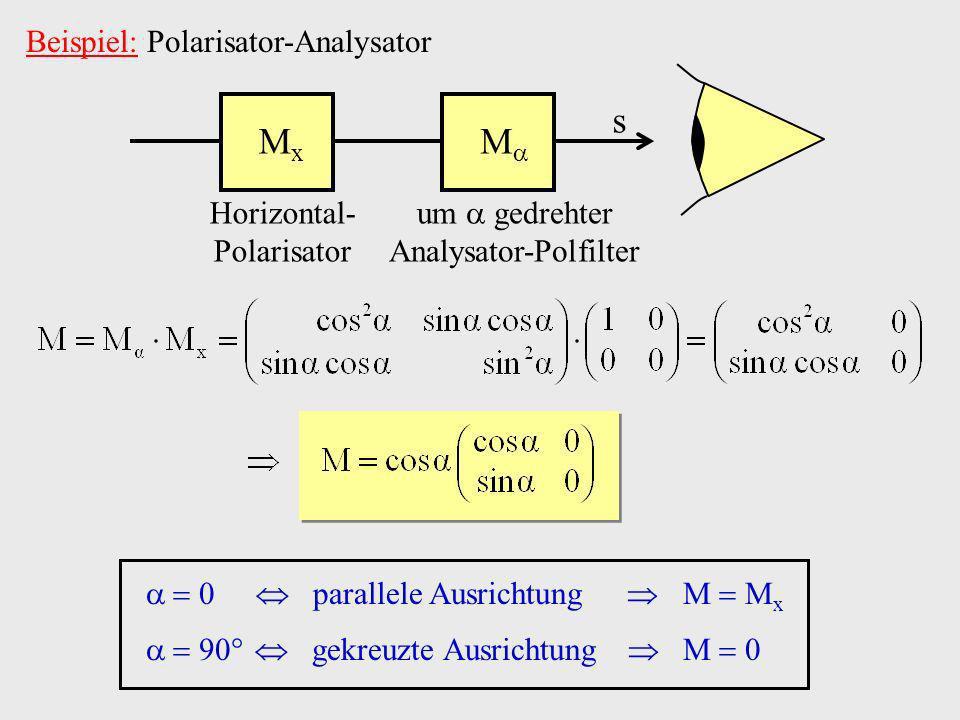 Beispiel: Polarisator-Analysator s M M x Horizontal- Polarisator um gedrehter Analysator-Polfilter parallele Ausrichtung M M x 9 gekreuzte Ausrichtung