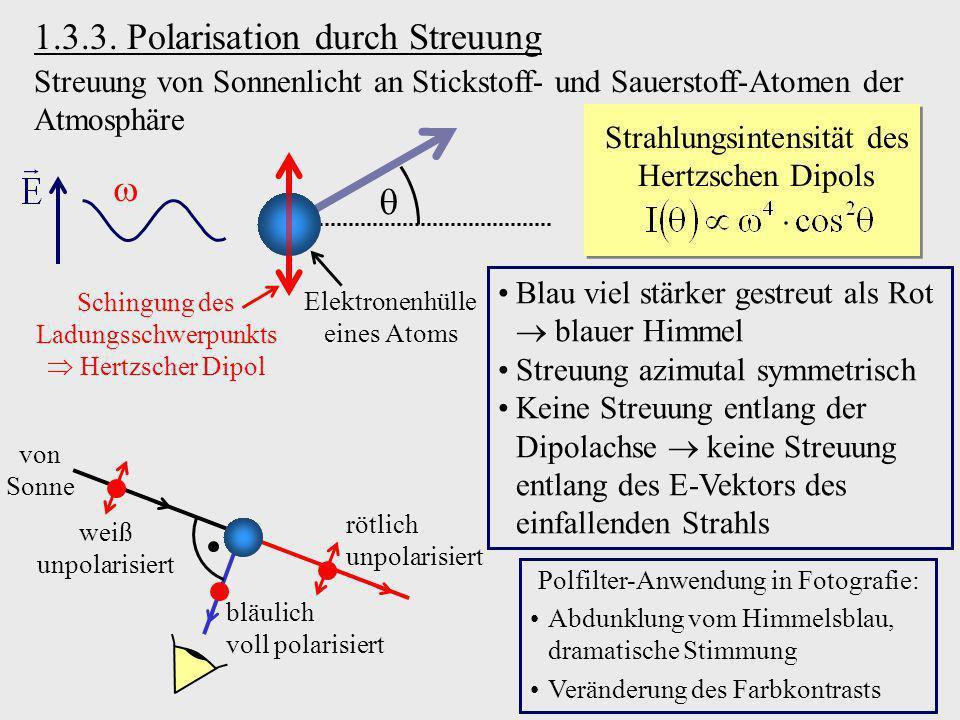 1.3.3. Polarisation durch Streuung Streuung von Sonnenlicht an Stickstoff- und Sauerstoff-Atomen der Atmosphäre Elektronenhülle eines Atoms Schingung