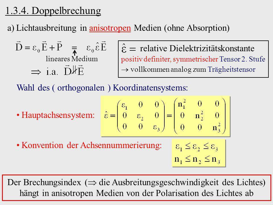 1.3.4. Doppelbrechung a)Lichtausbreitung in anisotropen Medien (ohne Absorption) relative Dielektrizitätskonstante positiv definiter, symmetrischer Te