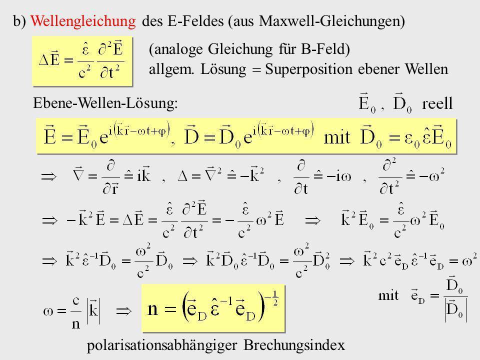 b) Wellengleichung des E-Feldes (aus Maxwell-Gleichungen) allgem. Lösung Superposition ebener Wellen Ebene-Wellen-Lösung: polarisationsabhängiger Brec