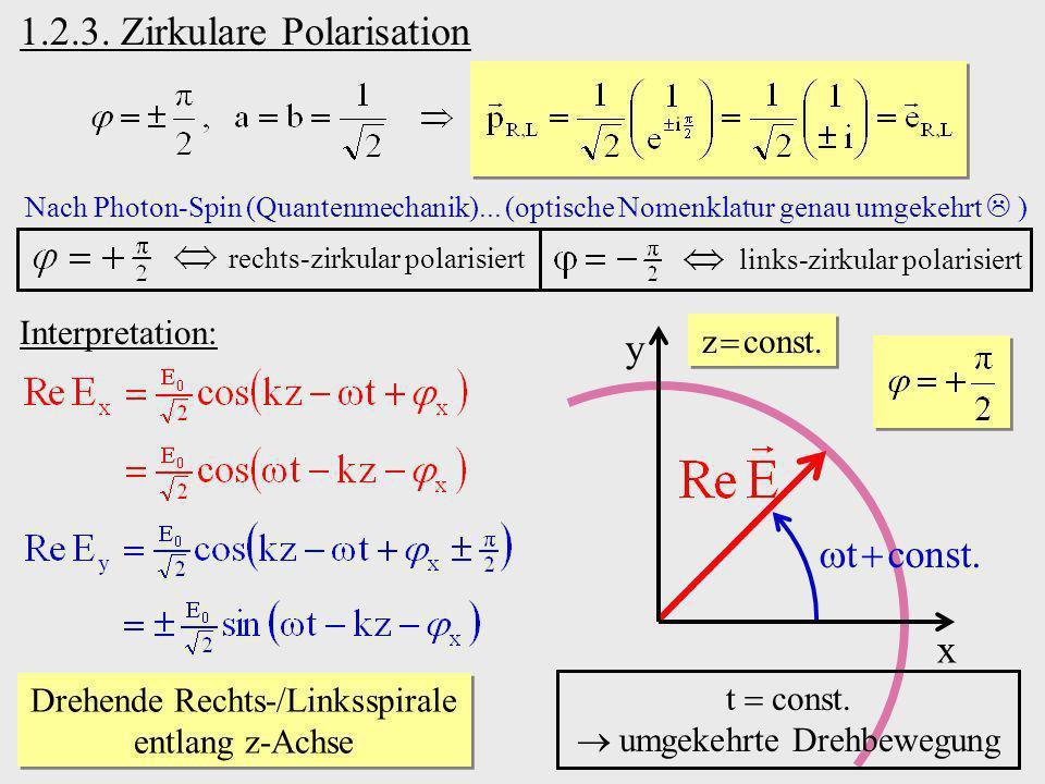 rechts-zirkular polarisiert Nach Photon-Spin (Quantenmechanik)... (optische Nomenklatur genau umgekehrt ) links-zirkular polarisiert y Interpretation: