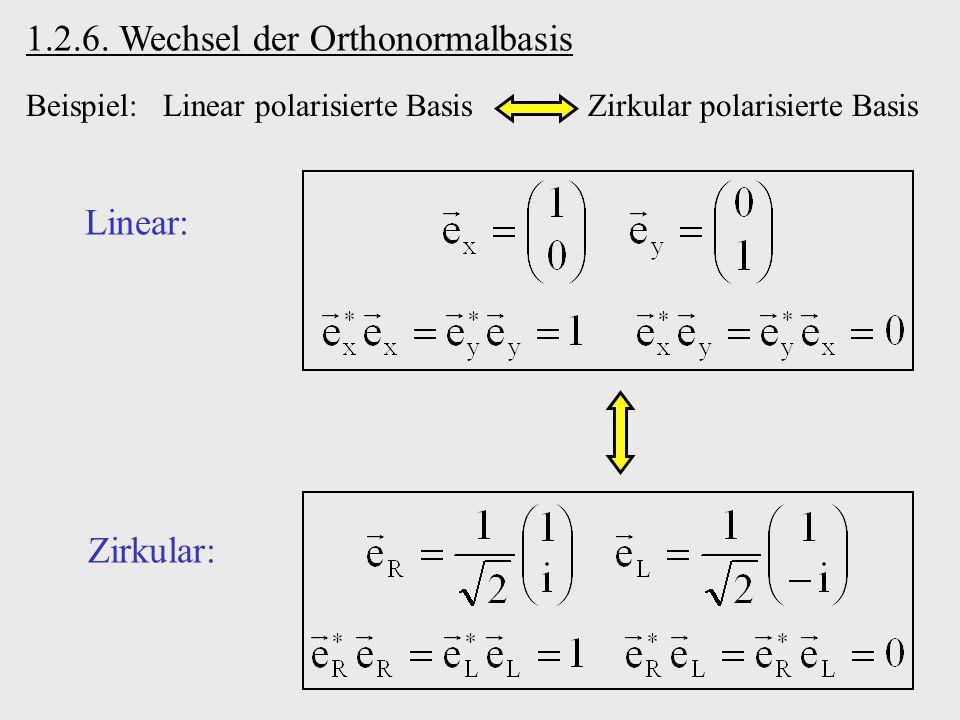 Beispiel: Linear polarisierte Basis Zirkular polarisierte Basis 1.2.6. Wechsel der Orthonormalbasis Linear: Zirkular: