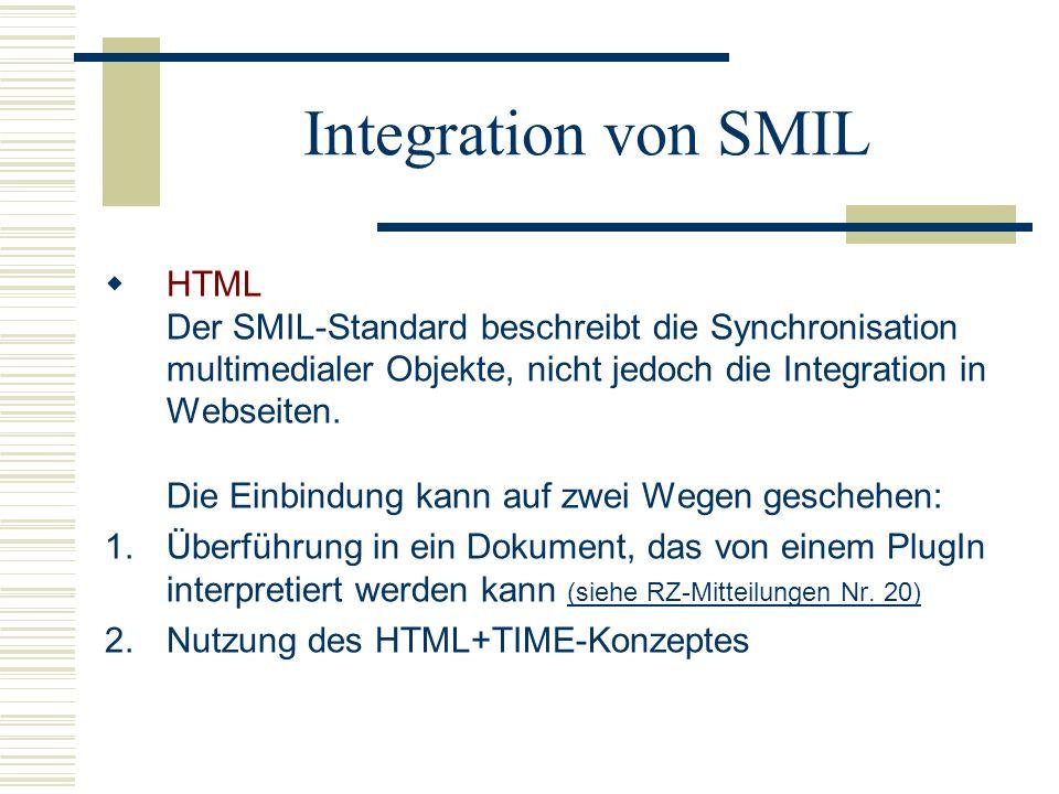 Integration von SMIL HTML Der SMIL-Standard beschreibt die Synchronisation multimedialer Objekte, nicht jedoch die Integration in Webseiten. Die Einbi