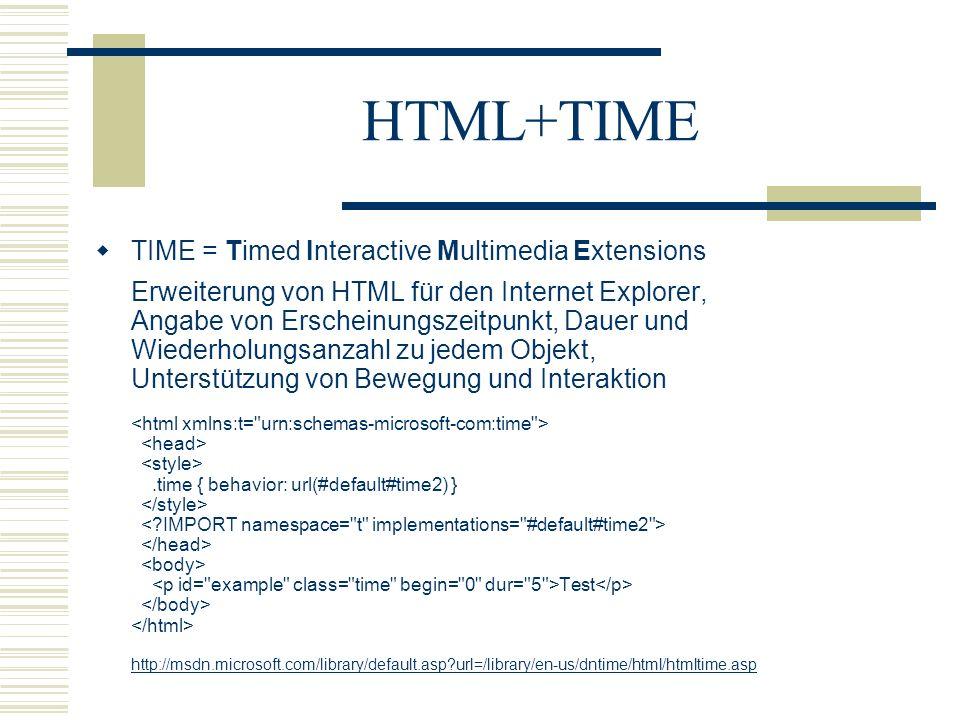 HTML+TIME TIME = Timed Interactive Multimedia Extensions Erweiterung von HTML für den Internet Explorer, Angabe von Erscheinungszeitpunkt, Dauer und W