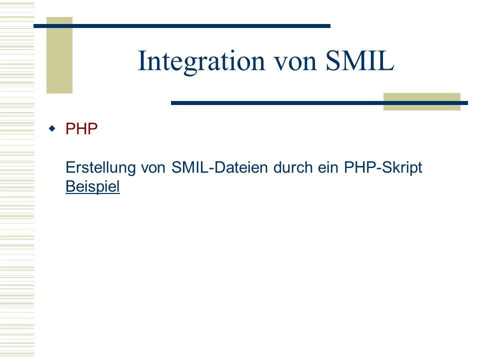 Integration von SMIL PHP Erstellung von SMIL-Dateien durch ein PHP-Skript Beispiel Beispiel