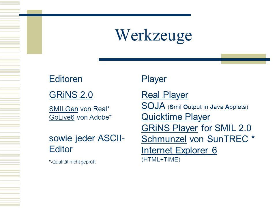 Werkzeuge Editoren GRiNS 2.0 SMILGen von Real* GoLive6 von Adobe* sowie jeder ASCII- Editor *-Qualität nicht geprüft GRiNS 2.0 SMILGen GoLive6 Player