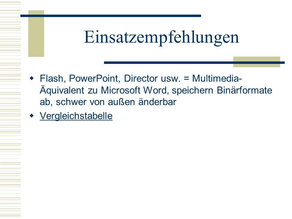 Einsatzempfehlungen Flash, PowerPoint, Director usw. = Multimedia- Äquivalent zu Microsoft Word, speichern Binärformate ab, schwer von außen änderbar