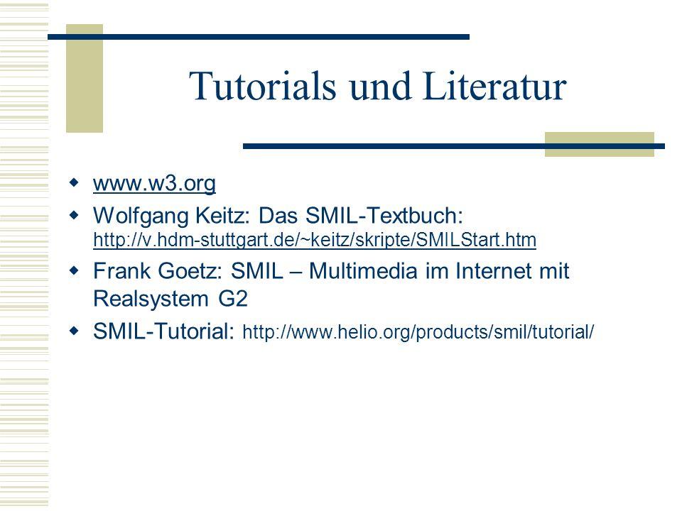 Tutorials und Literatur www.w3.org Wolfgang Keitz: Das SMIL-Textbuch: http://v.hdm-stuttgart.de/~keitz/skripte/SMILStart.htm http://v.hdm-stuttgart.de