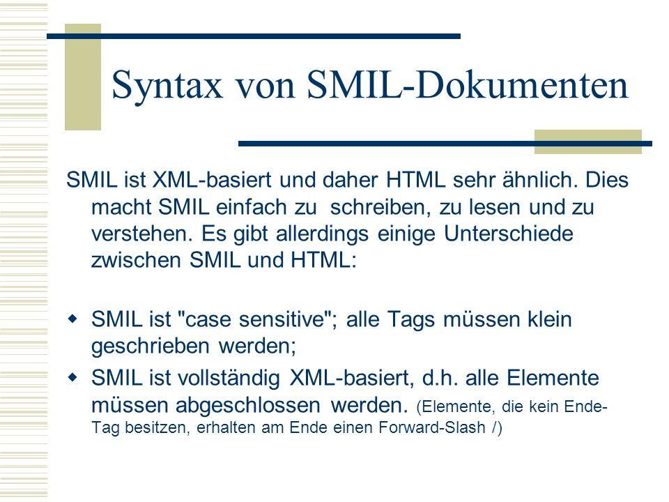 Syntax von SMIL-Dokumenten SMIL ist XML-basiert und daher HTML sehr ähnlich. Dies macht SMIL einfach zu schreiben, zu lesen und zu verstehen. Es gibt