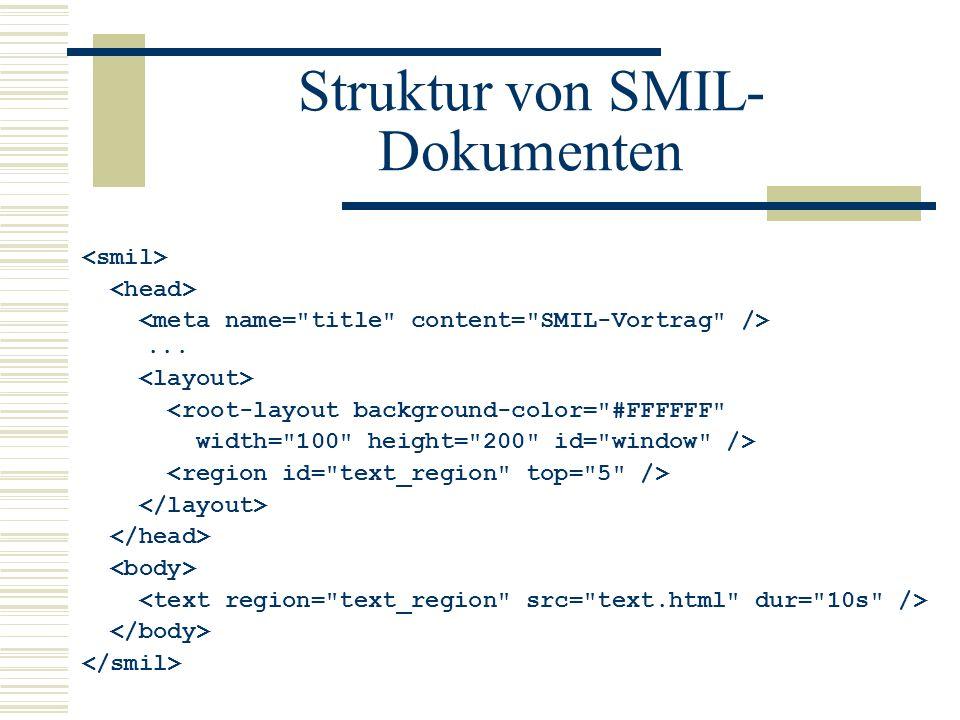 Struktur von SMIL- Dokumenten... <root-layout background-color=