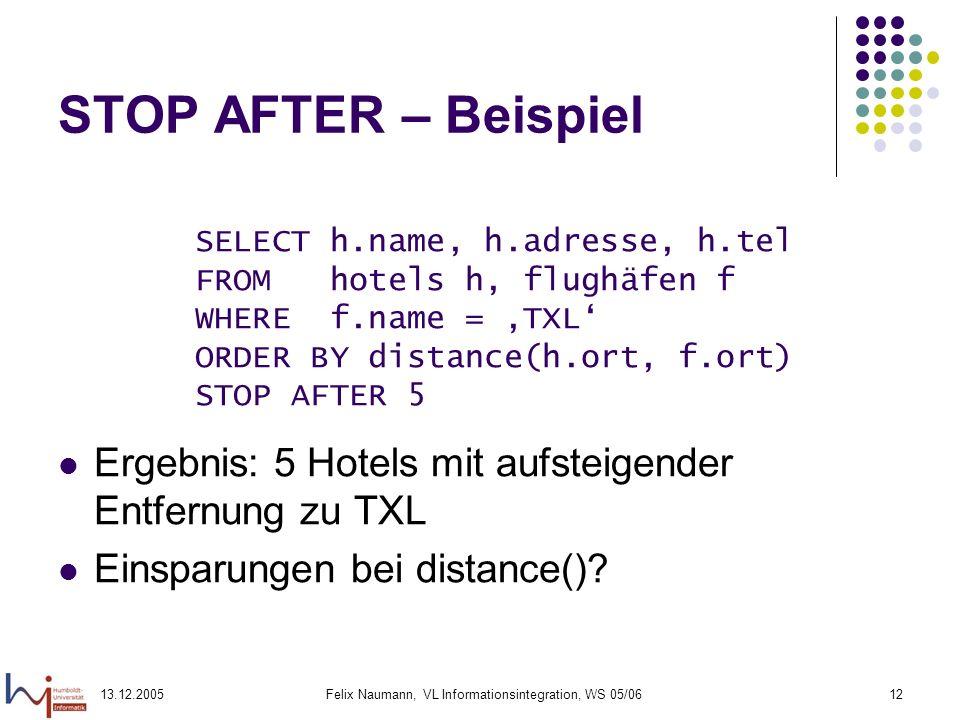13.12.2005Felix Naumann, VL Informationsintegration, WS 05/0612 STOP AFTER – Beispiel Ergebnis: 5 Hotels mit aufsteigender Entfernung zu TXL Einsparun