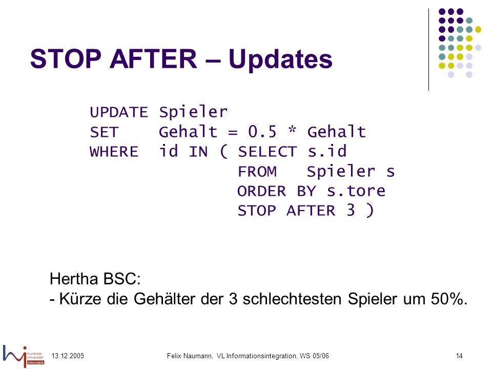 13.12.2005Felix Naumann, VL Informationsintegration, WS 05/0614 STOP AFTER – Updates UPDATE Spieler SET Gehalt = 0.5 * Gehalt WHERE id IN ( SELECT s.i
