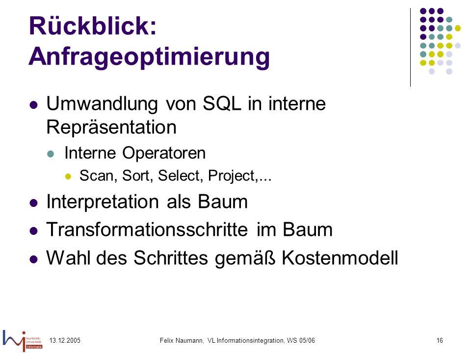 13.12.2005Felix Naumann, VL Informationsintegration, WS 05/0616 Rückblick: Anfrageoptimierung Umwandlung von SQL in interne Repräsentation Interne Ope