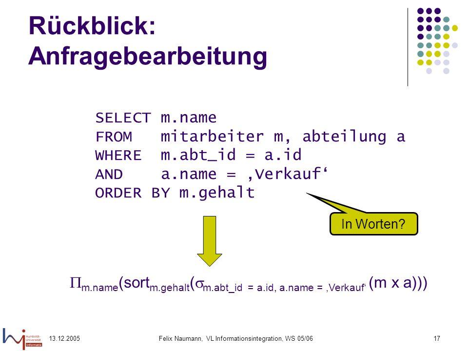 13.12.2005Felix Naumann, VL Informationsintegration, WS 05/0617 Rückblick: Anfragebearbeitung SELECT m.name FROM mitarbeiter m, abteilung a WHERE m.ab