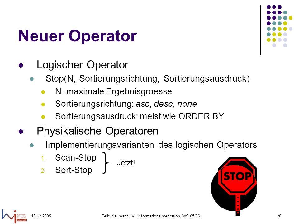 13.12.2005Felix Naumann, VL Informationsintegration, WS 05/0620 Neuer Operator Logischer Operator Stop(N, Sortierungsrichtung, Sortierungsausdruck) N: