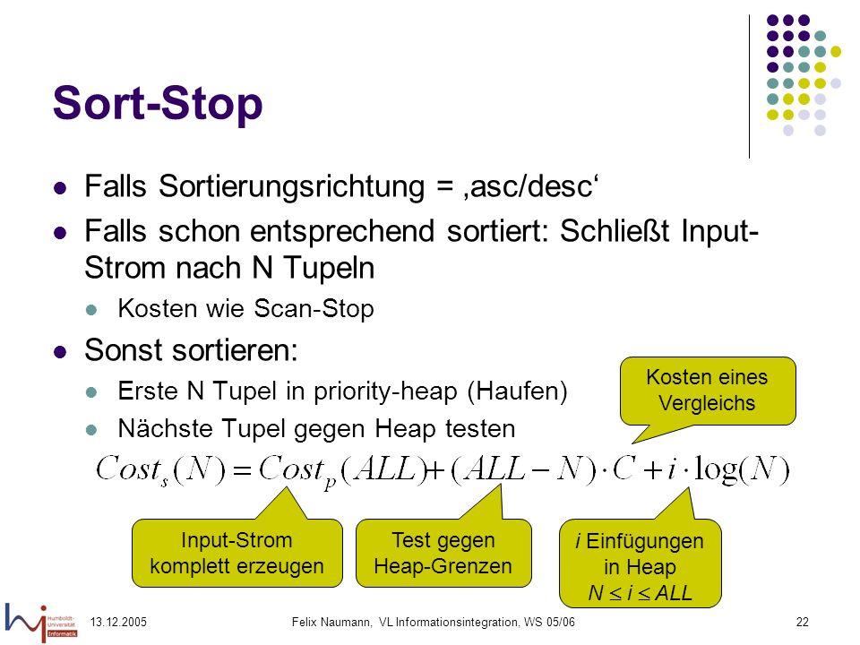 13.12.2005Felix Naumann, VL Informationsintegration, WS 05/0622 Sort-Stop Falls Sortierungsrichtung = asc/desc Falls schon entsprechend sortiert: Schl