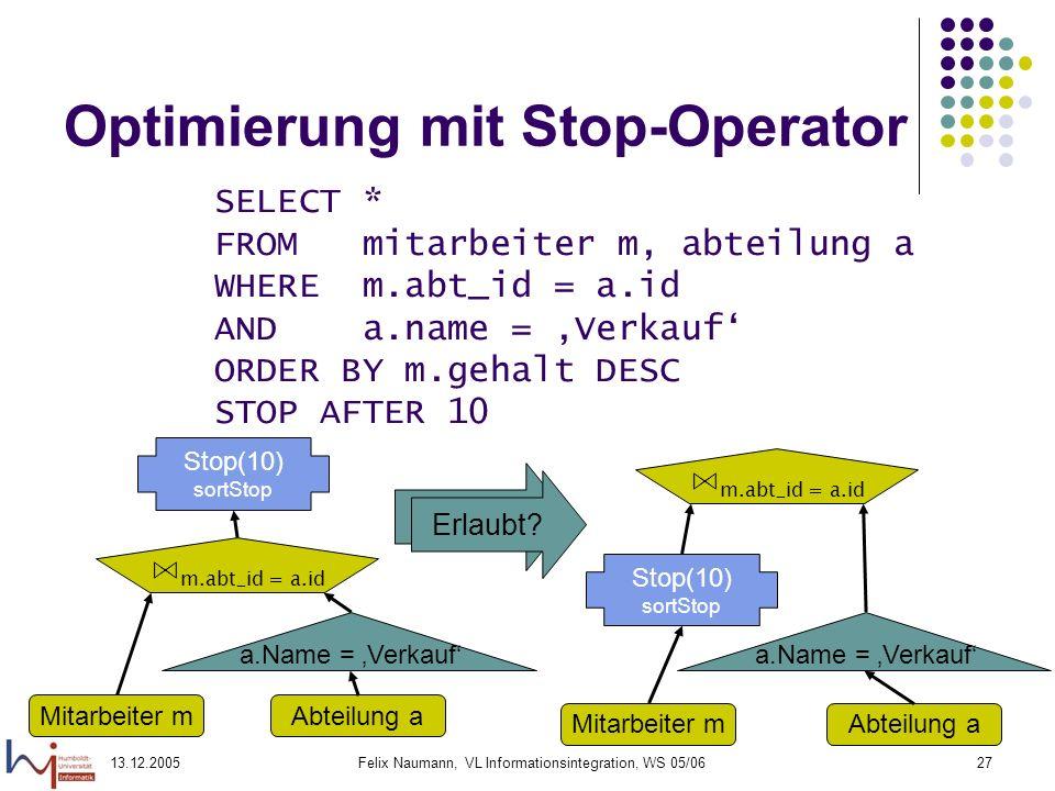 13.12.2005Felix Naumann, VL Informationsintegration, WS 05/0627 Nein! Optimierung mit Stop-Operator SELECT * FROM mitarbeiter m, abteilung a WHERE m.a