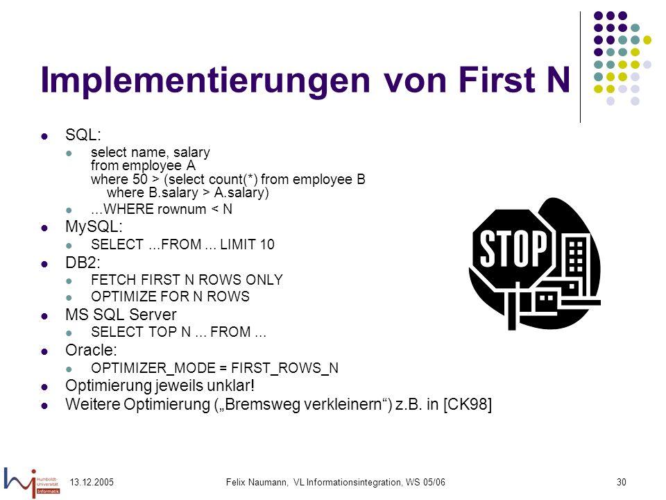 13.12.2005Felix Naumann, VL Informationsintegration, WS 05/0630 Implementierungen von First N SQL: select name, salary from employee A where 50 > (sel