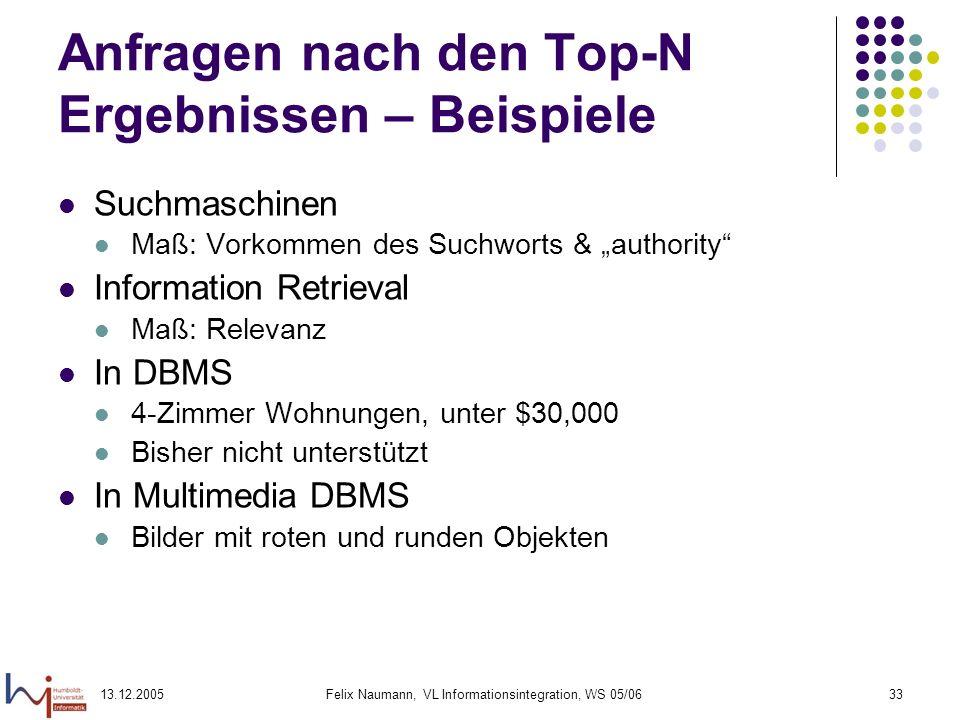 13.12.2005Felix Naumann, VL Informationsintegration, WS 05/0633 Anfragen nach den Top-N Ergebnissen – Beispiele Suchmaschinen Maß: Vorkommen des Suchw