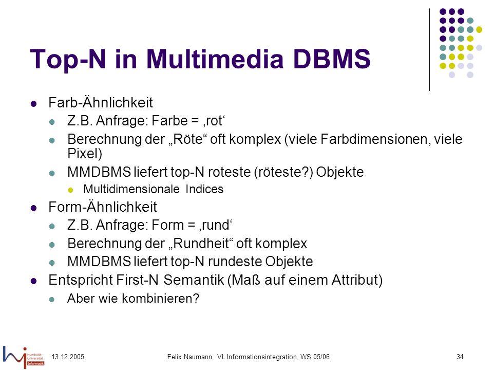 13.12.2005Felix Naumann, VL Informationsintegration, WS 05/0634 Top-N in Multimedia DBMS Farb-Ähnlichkeit Z.B. Anfrage: Farbe = rot Berechnung der Röt