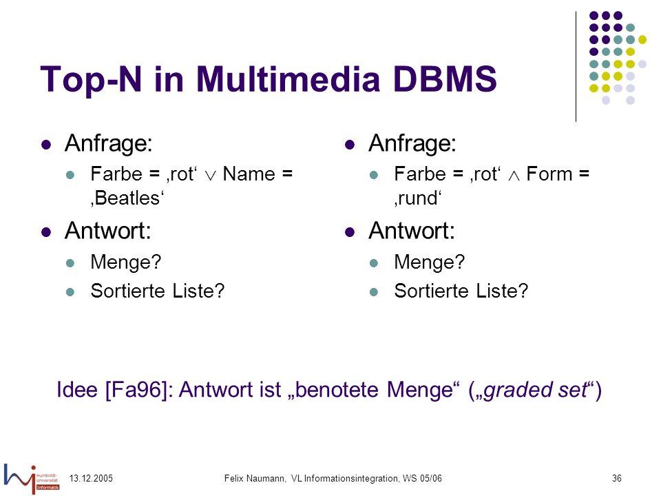 13.12.2005Felix Naumann, VL Informationsintegration, WS 05/0636 Top-N in Multimedia DBMS Anfrage: Farbe = rot Name = Beatles Antwort: Menge? Sortierte
