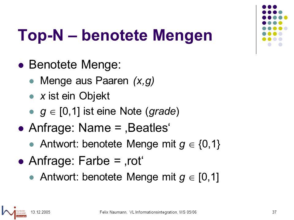 13.12.2005Felix Naumann, VL Informationsintegration, WS 05/0637 Top-N – benotete Mengen Benotete Menge: Menge aus Paaren (x,g) x ist ein Objekt g [0,1