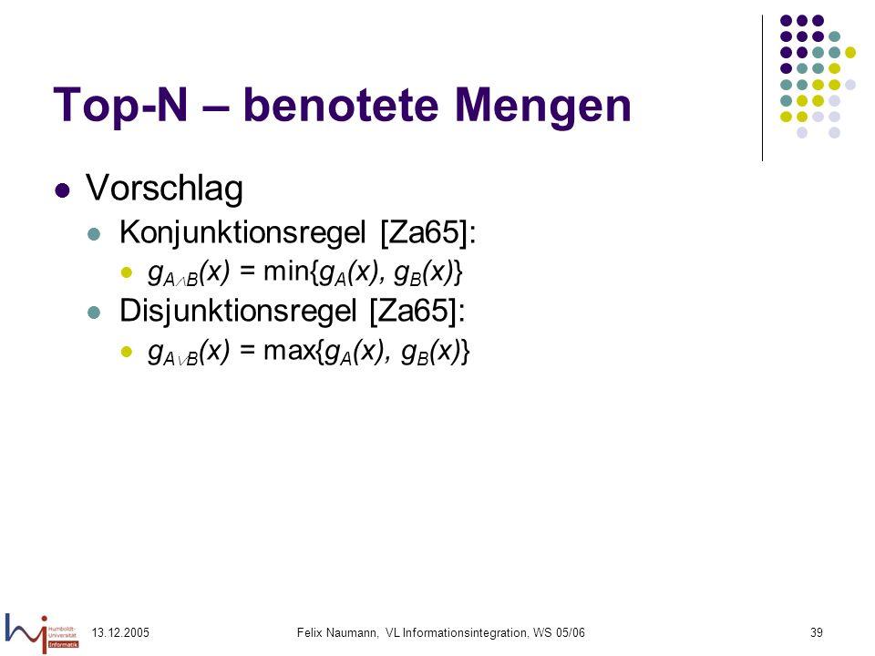 13.12.2005Felix Naumann, VL Informationsintegration, WS 05/0639 Top-N – benotete Mengen Vorschlag Konjunktionsregel [Za65]: g A B (x) = min{g A (x), g
